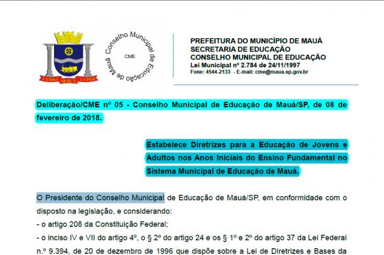 MAUÁ - Deliberação nº 05 - Estabelece Diretrizes para a Educação de Jovens e Adultos nos Anos Iniciais do Ensino Fundamental
