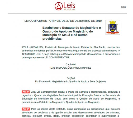 MAUÁ - Lei Complementar nº 36 - Estabelece o Estatuto do Magistério e o Quadro de Apoio do Município de Mauá