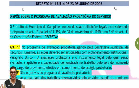 CAMPINAS - Decreto Municipal nº 15.514 - Dispõe sobre o Programa de Avaliação Probatória do Servidor