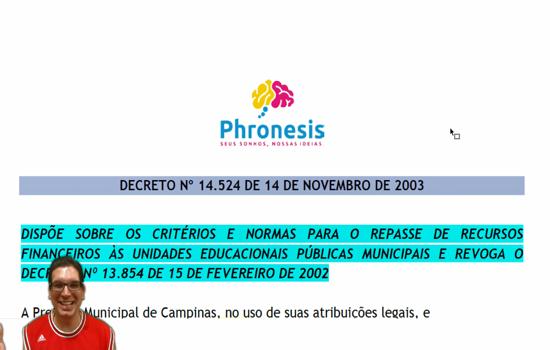 CAMPINAS - Decreto Municipal nº 14.524 de 14-11-03 - Dispõem sobre o repasse de recursos financeiros