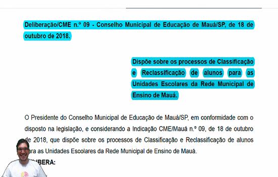 MAUÁ - Deliberação nº 09 de 2018 – Dispõe sobre classificação e reclassificação de alunos