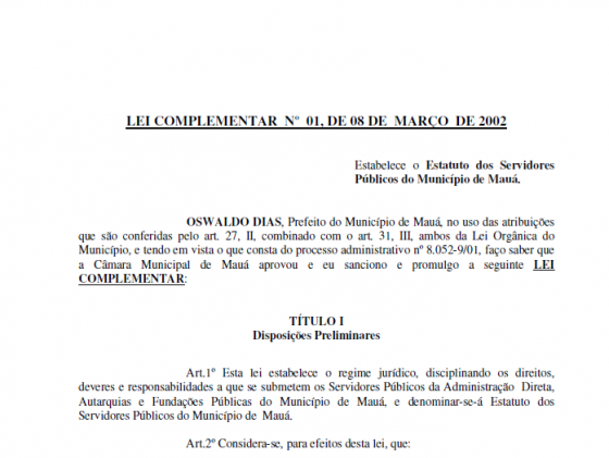 MAUÁ - Lei Complementar nº 01 - Estabelece oEstatuto dos Servidores Públicos do Município de Mauá