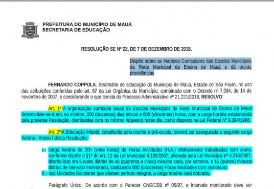 MAUÁ - Resolução nº 22 - Dispõe sobre as Matrizes Curriculares das Escolas Municipais de Mauá