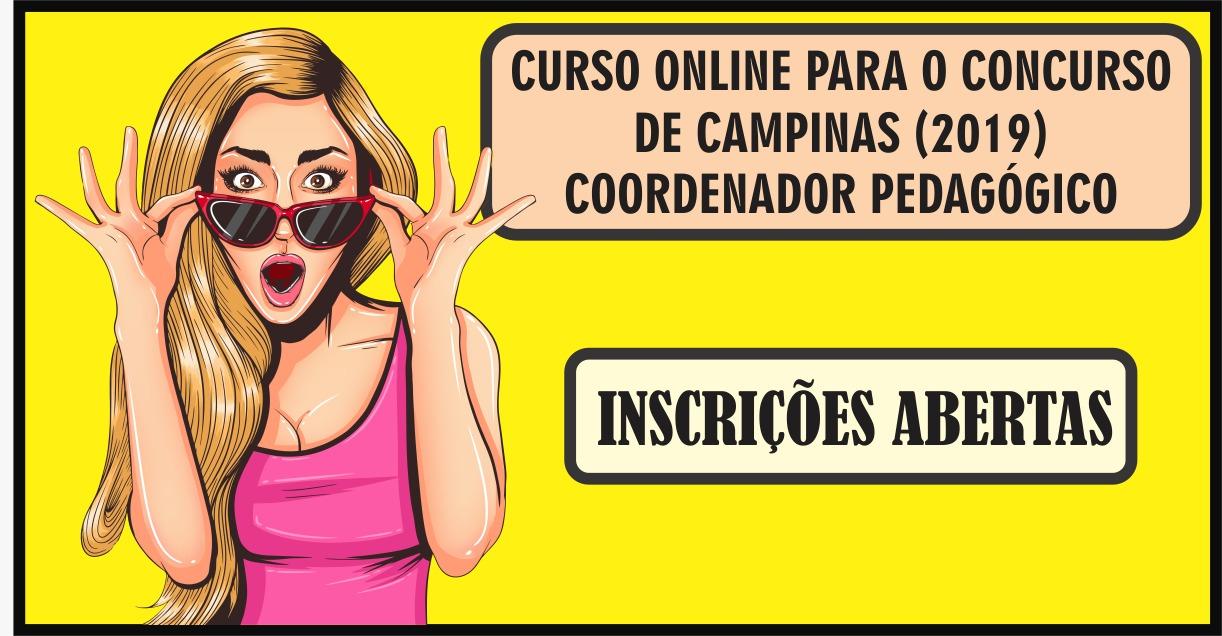 CURSO ONLINE PARA O CONCURSO DE CAMPINAS (COORDENADOR PEDAGÓGICO)