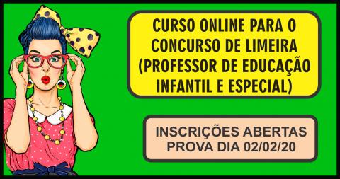 CURSO ONLINE PARA O CONCURSO DE LIMEIRA (PROFESSOR DE EDUCAÇÃO INFANTIL E EDUCAÇÃO ESPECIAL)