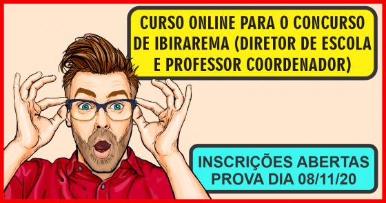 CURSO ONLINE PARA O CONCURSO DE IBIRAREMA (DIRETOR DE ESCOLA E PROFESSOR COORDENADOR)
