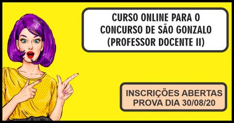CURSO ONLINE PARA O CONCURSO DE SÃO GONZALO (PROFESSOR DOCENTE II)